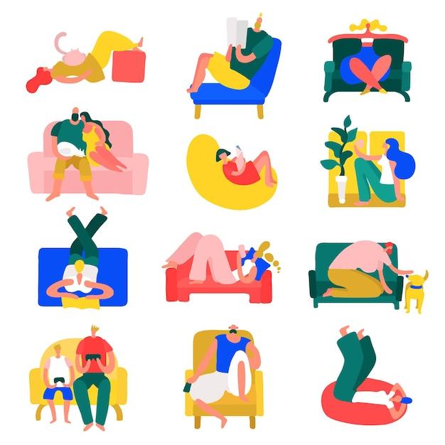 Les Gens Temps Libre Repos Maison Pose Collection D'icônes Colorées Avec Détente En Position De Yoga Isolé Illustration Vectorielle Vecteur gratuit