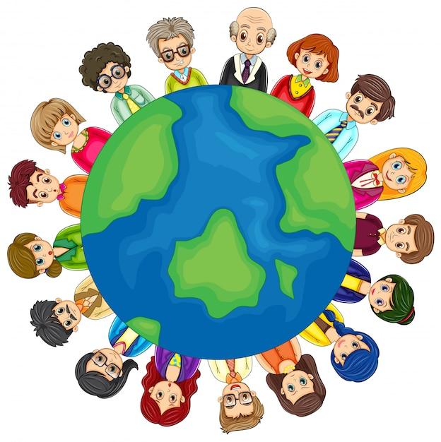 Les Gens Et La Terre Vecteur gratuit