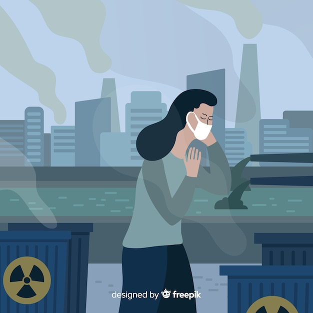 Les gens toussent à cause de la pollution Vecteur gratuit