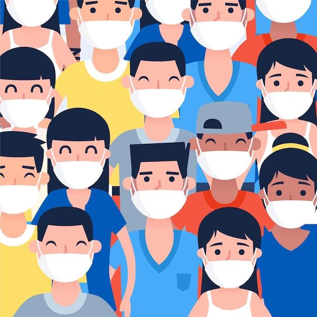 Des Gens De Toutes Nationalités Portant Des Masques Vecteur gratuit