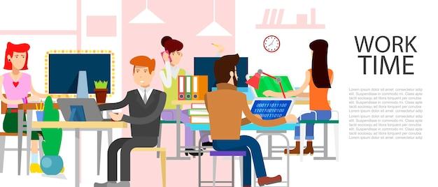 Gens de travail entreprise de bureau vector illustration. e-commerce, gestion du temps de travail, démarrage et concept d'entreprise de marketing numérique. temps au travail dans le bureau. concept de travail d'équipe Vecteur Premium