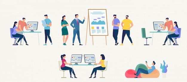 Les gens travaillent au bureau. illustration vectorielle Vecteur Premium
