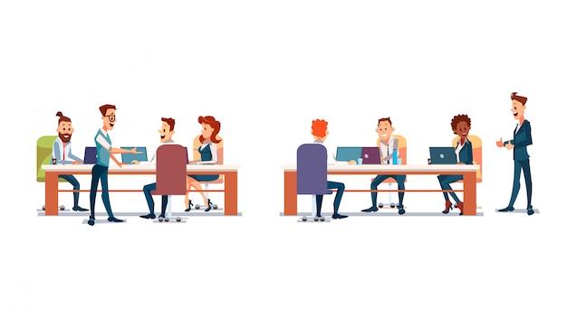Les gens travaillent au bureau Vecteur Premium