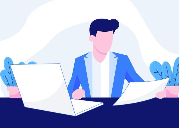 Les Gens Travaillent Dans Les Bureaux Illustration Vecteur Premium
