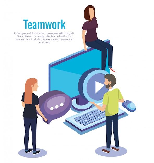 Les gens travaillent en équipe avec le bureau Vecteur gratuit