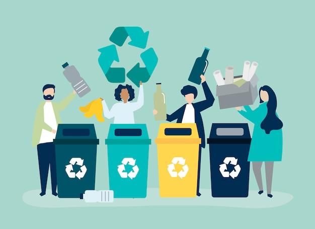 Les gens trient les ordures pour les recycler Vecteur gratuit
