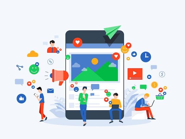 Les Gens Utilisent Les Médias Sociaux Pour Le Concept De Communication D'entreprise Vecteur Premium