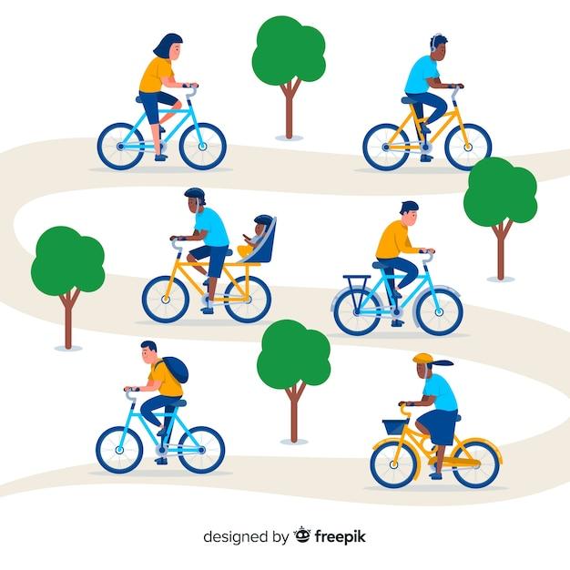 Les gens à vélo dans la collection du parc Vecteur gratuit