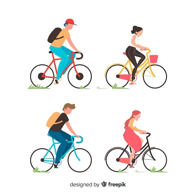 Les Gens à Vélo Dans Le Parc Vecteur Premium