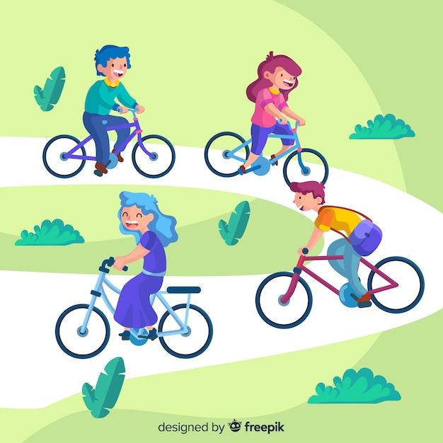 Les gens à vélo dans le parc Vecteur gratuit