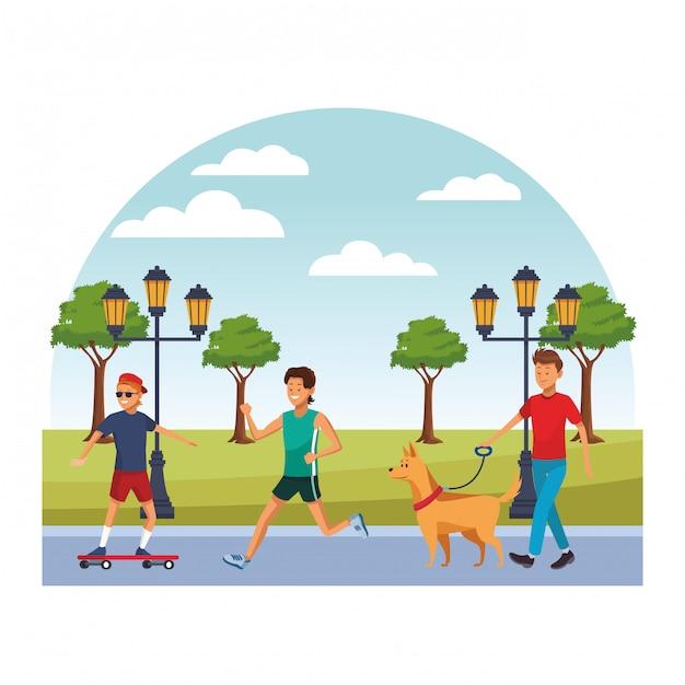 Gens de la ville marchant des dessins animés Vecteur Premium