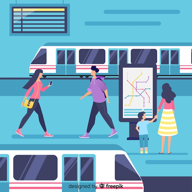 Les gens vont dans le métro Vecteur gratuit