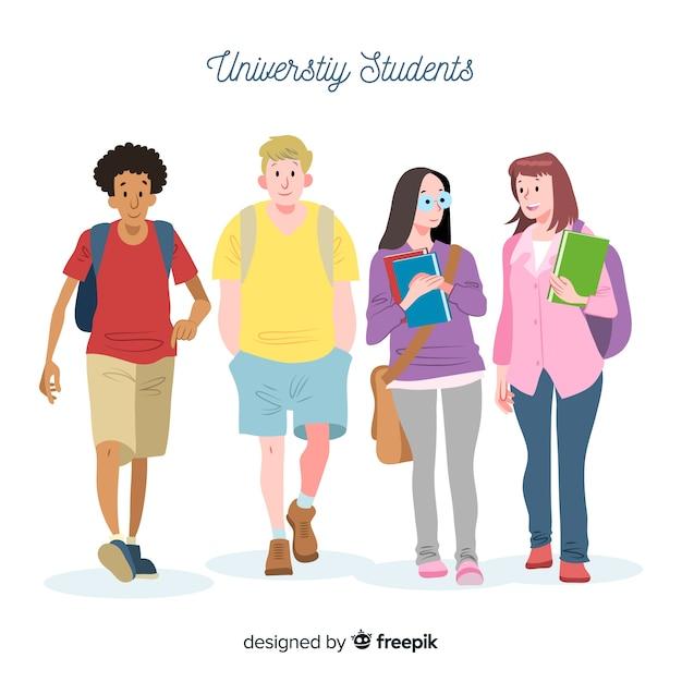 Les gens vont à l'université Vecteur gratuit