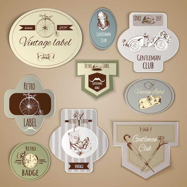 Gentleman labels set Vecteur gratuit