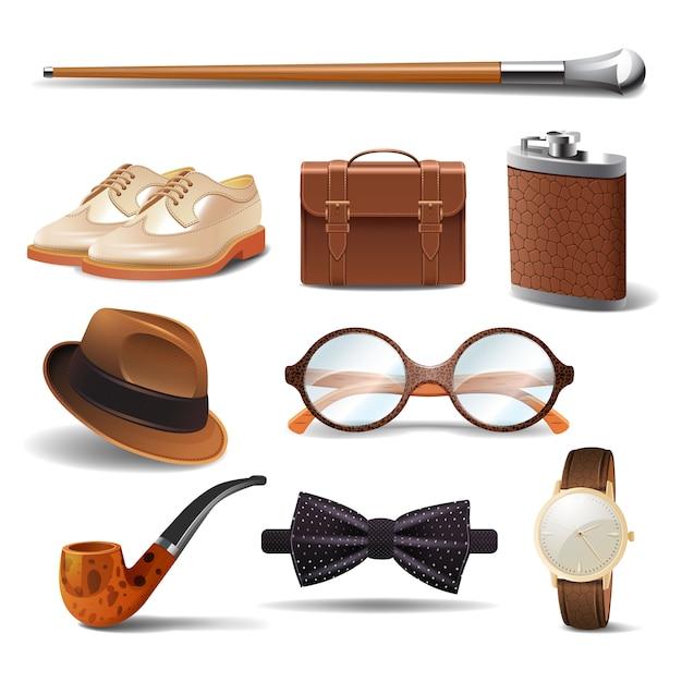 Gentleman réaliste accessoires décoratifs icônes définies Vecteur gratuit