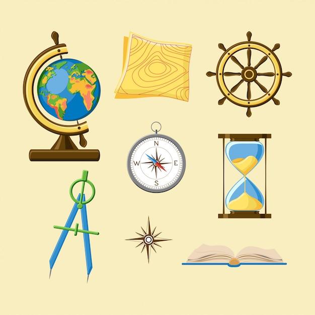 Géographie Sertie De Globe, Carte Topographique, Roue De Bateau, Boussole, Sablier, Rose Des Vents Et Boo Vecteur Premium