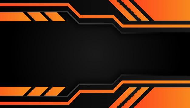 La géométrie 3d moderne forme des lignes noires avec des bordures orange sur fond sombre Vecteur Premium