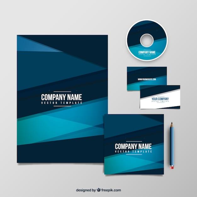Géométrie société bleu pack de modèle Vecteur Premium