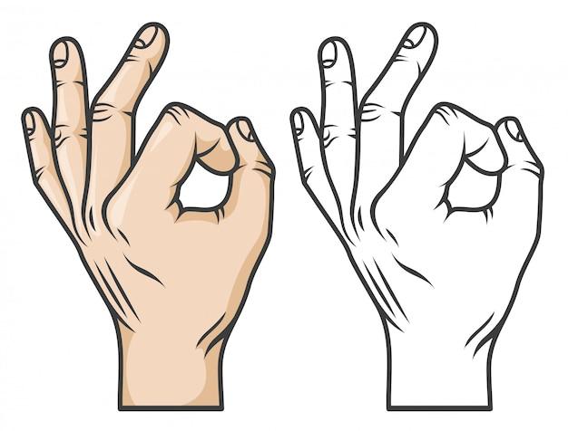 Geste De La Main Ok Ou Zéro. Style De Bande Dessinée De Bande Dessinée. Versions Noir Et Blanc Et Couleur. Vecteur Premium