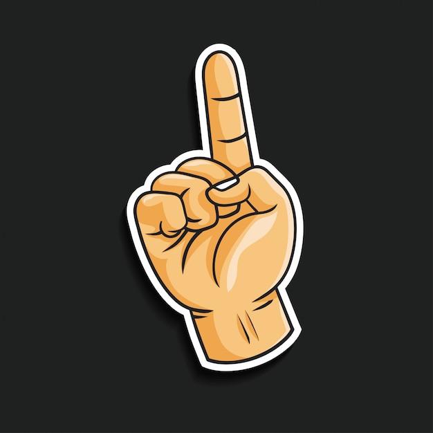 Geste de la main pointant vers le haut Vecteur Premium