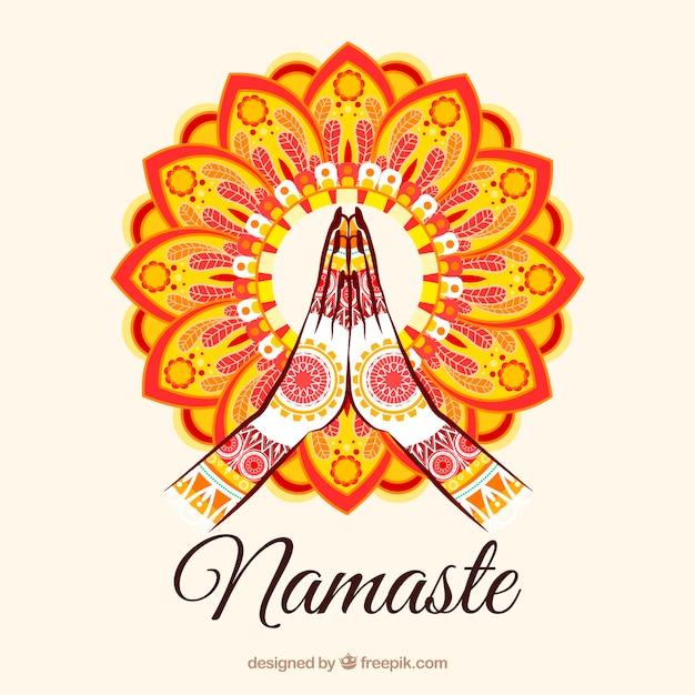 Geste Namaste Avec Mandala Coloré Vecteur gratuit
