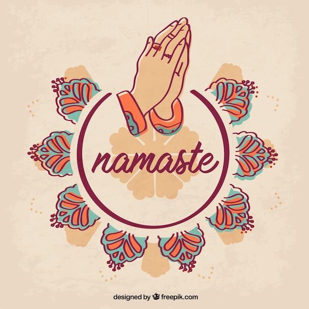 Geste Namaste Original Avec Des Ornements Vecteur gratuit