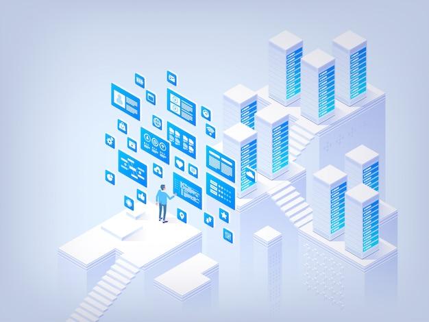 Gestion de base de données. concept de salut tech illustration isométrique de vecteur Vecteur Premium