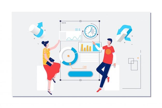 Gestion des flux de travail et situations de bureau Vecteur Premium