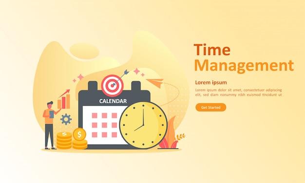 Gestion des horaires de travail Vecteur Premium