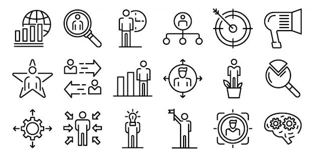 Gestion des icônes de compétences définies, style de contour Vecteur Premium