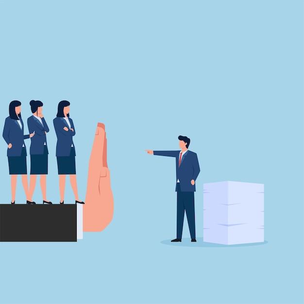 Gestionnaire D'arrêt De La Main Pour Faire Des Heures Supplémentaires Pour Les Femmes Métaphore Des Droits De L'homme Et De La Discrimination. Vecteur Premium