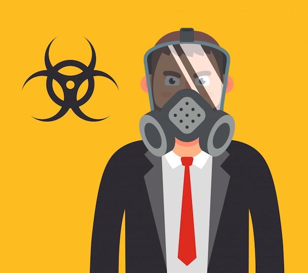 Gestionnaire Dans Un Masque à Gaz. Protéger Votre Santé Contre Les Armes Biologiques. Illustration De Caractère Plat. Vecteur Premium