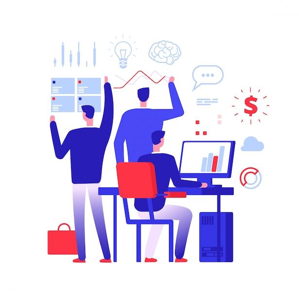 Gestionnaire Multitâche. Homme D'affaires Dans Différentes Actions Commerciales Résolvant Des Tâches Urgentes. Vecteur Premium