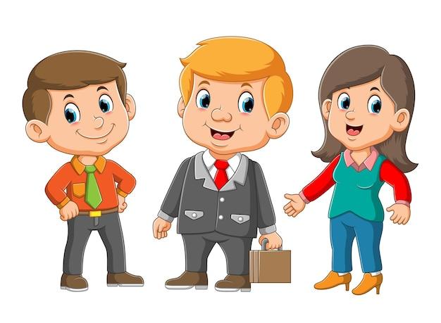 Gestionnaire Avec Sa Secrétaire Rencontre Avec L'illustration Du Commerçant Vecteur Premium