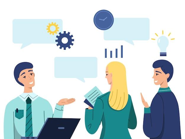 Les gestionnaires présentent une illustration d'idée de projet Vecteur gratuit