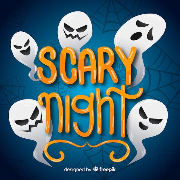 Ghost Funny Faces Lettrage De Nuit Effrayant Vecteur gratuit