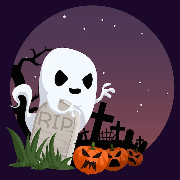 Ghost in cemetery Vecteur Premium