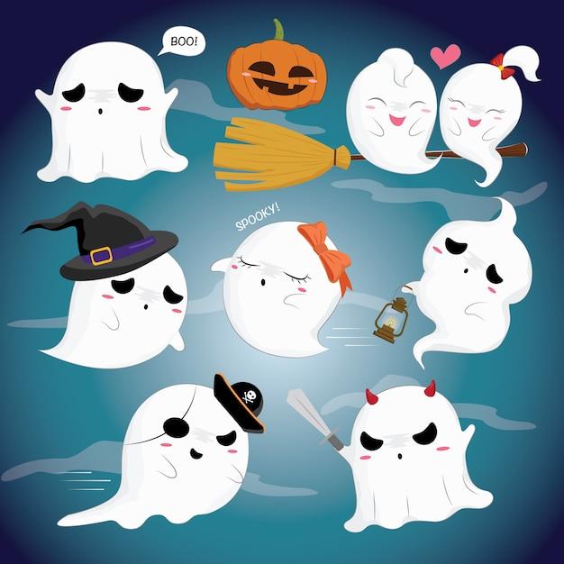 Ghost set Vecteur Premium