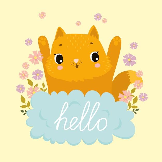 Gingembre chat heureux dans les nuages et les fleurs, bonjour Vecteur gratuit