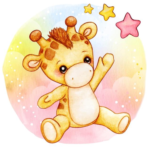 Girafe Bébé Aquarelle Mignon Assis Sur Fond De Raiinbow Vecteur Premium