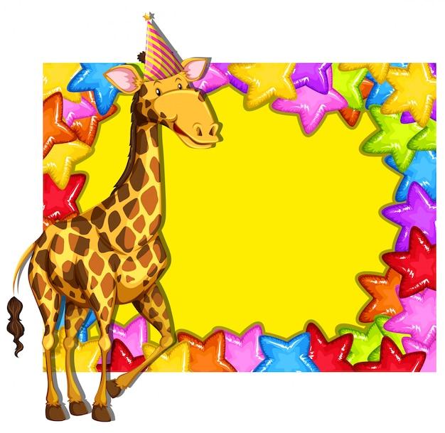 Girafe sur une bordure colorée Vecteur gratuit
