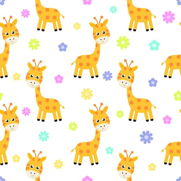 Girafe de dessin animé et modèle sans couture de fleur isolé sur fond blanc. Vecteur Premium