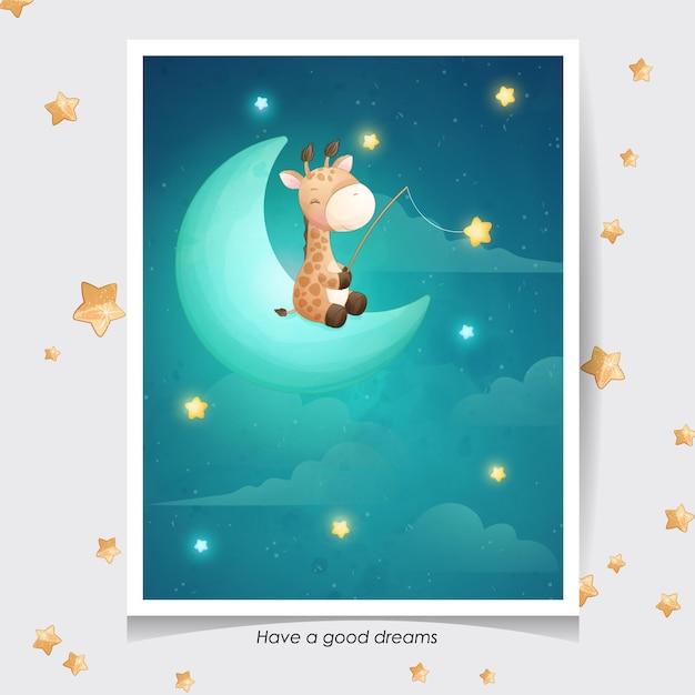 Girafe De Doodle Mignon Avec Illustration Aquarelle Vecteur Premium