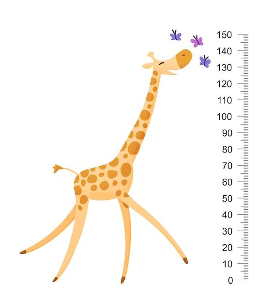 Vecteur Premium Girafe Drole Joyeuse Girafe Drole Avec Long Cou Mur De Metre De Girafe Ou Tableau De Hauteur Ou Autocollant Mural Illustration Avec Echelle De 2 A 150 Centimetres Pour