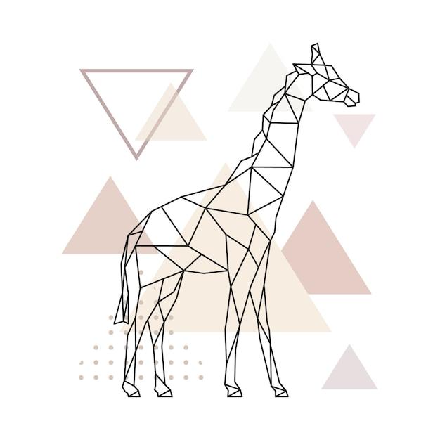 Girafe géométrique sur fond de simples triangles. Vecteur Premium