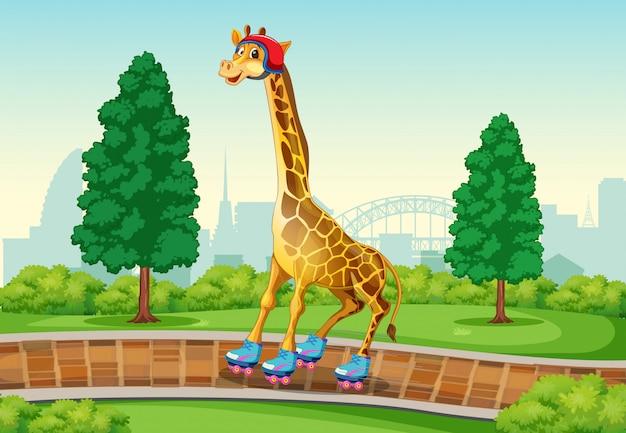 Girafe jouant au roller dans le parc Vecteur gratuit