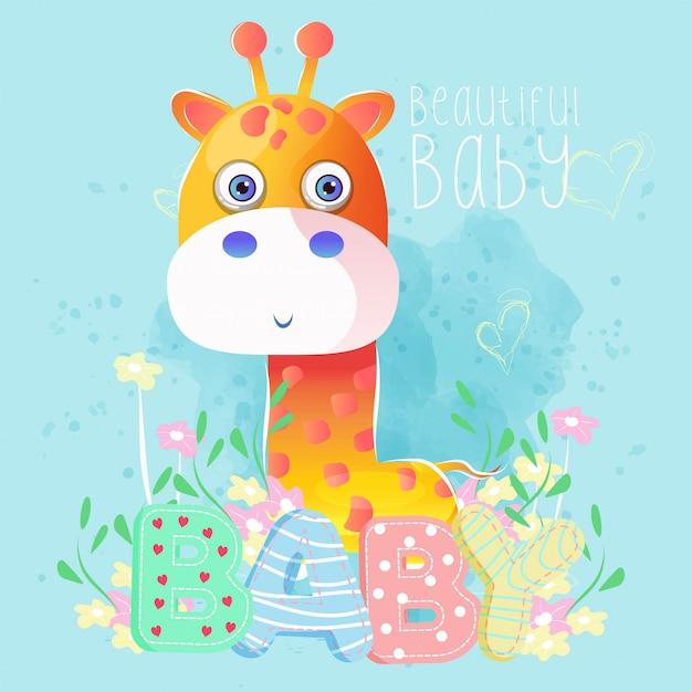 Girafe mignon petit garçon Vecteur Premium
