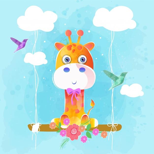 Girafe mignonne sur la balançoire Vecteur Premium
