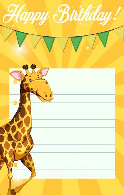 Girafe sur modèle de note d'anniversaire Vecteur gratuit