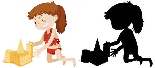 Girl Building Château De Sable Avec Sa Silhouette Vecteur gratuit